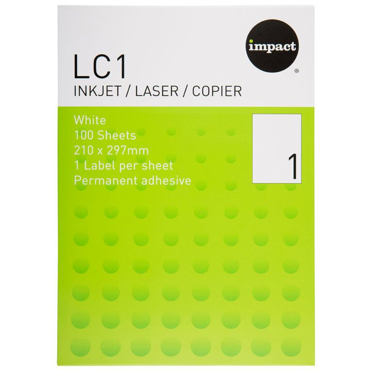 Impact Labels 100 Sheets A4/1 Sticker Sheet White, , hi-res