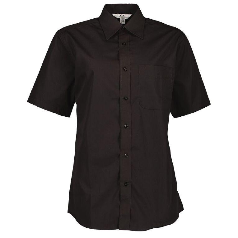 Schooltex Short Sleeve Poplin Shirts, Black, hi-res