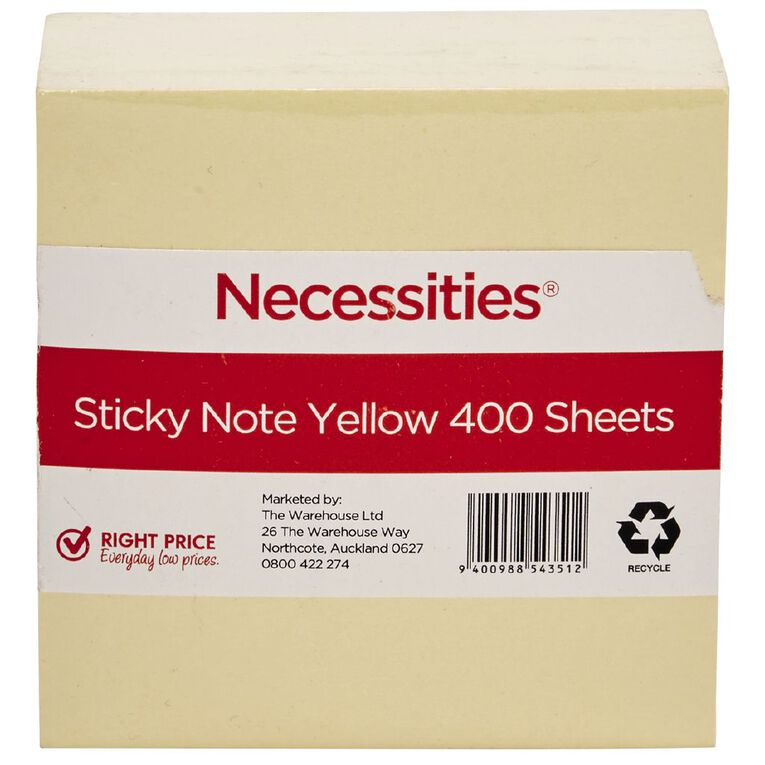 No Brand Sticky Notes Yellow 7.5cm x 7.5cm 400 Sheets Yellow, , hi-res