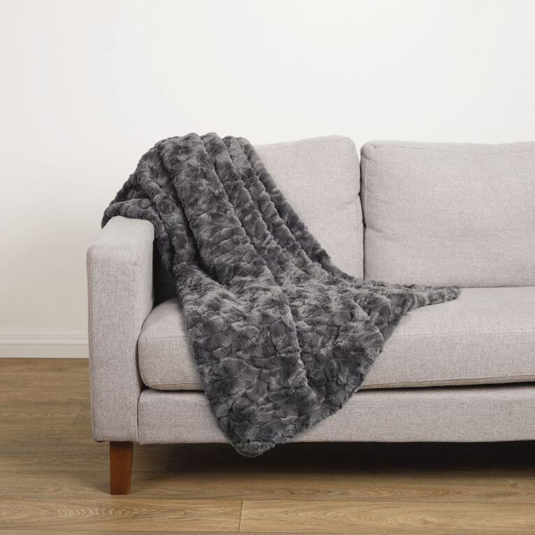 Living & Co Textured Faux Fur Throw Charcoal 120cm x 140cm, Charcoal, hi-res image number null