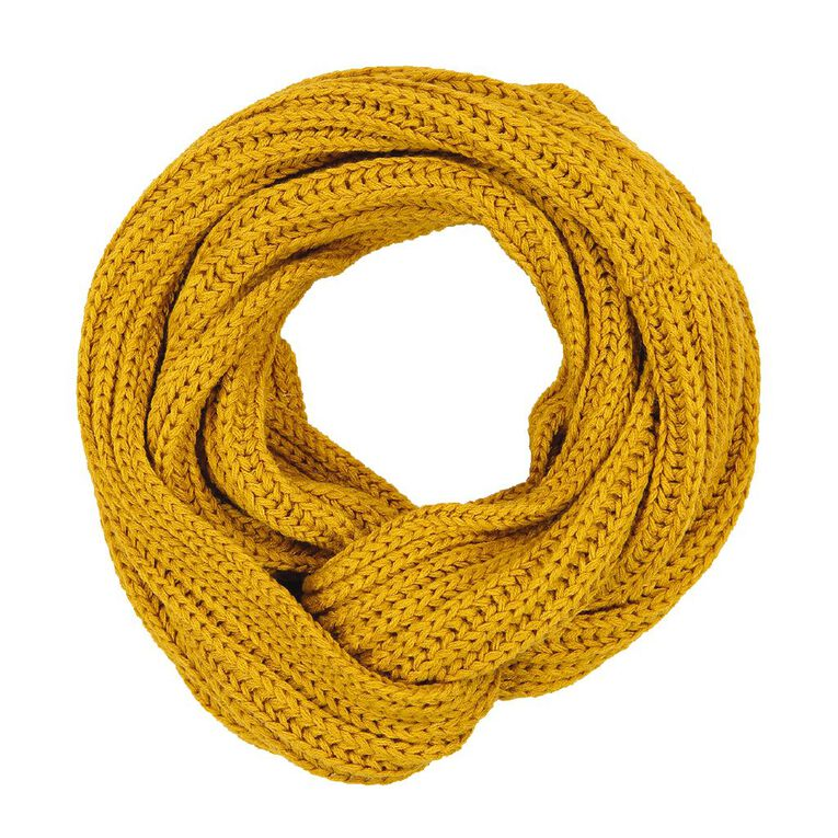 H&H Women's Chunky Rib Snood, Gold, hi-res image number null