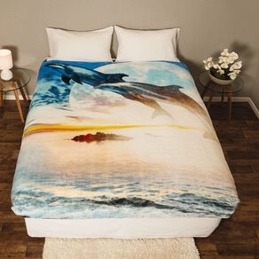 Living & Co Blanket Printed Mink Feel 400gsm Dolphin Queen