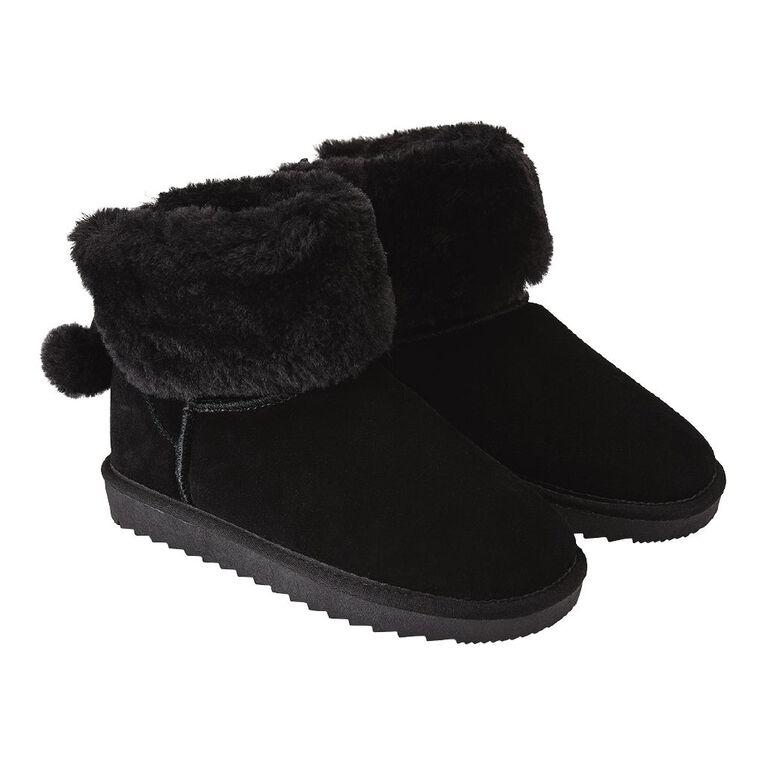 H&H Suede Pom Pom Slipper Boots, Black, hi-res