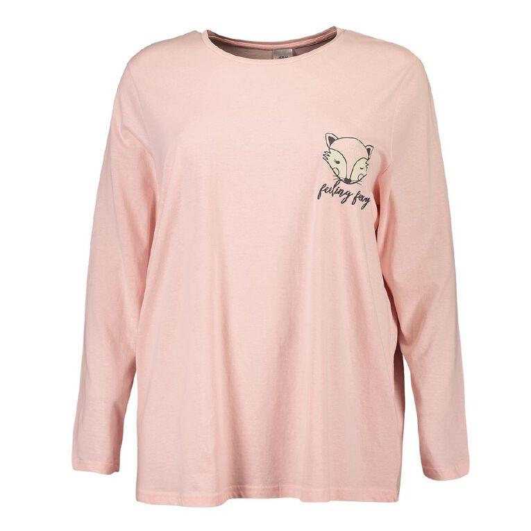 H&H Cosy Curvy Women's Long Sleeve Knit Sleep Tee, Pink, hi-res