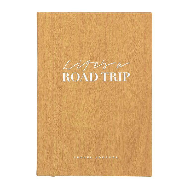 Uniti Life's A Road Trip Travel Journal Pu Hardcover Wood 140mm X 200mm, , hi-res