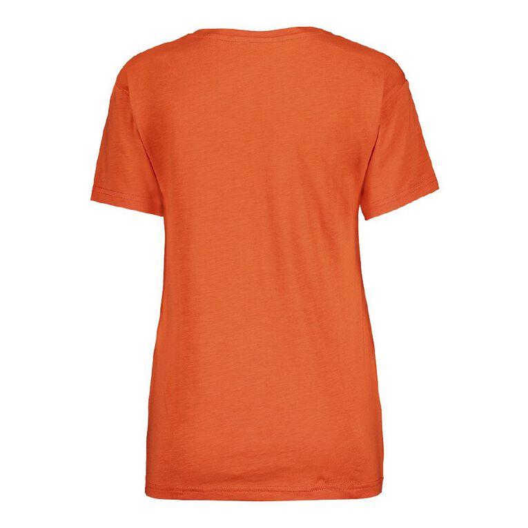 H&H Women's Boyfriend V-Neck Tee, Orange GRENADINE, hi-res
