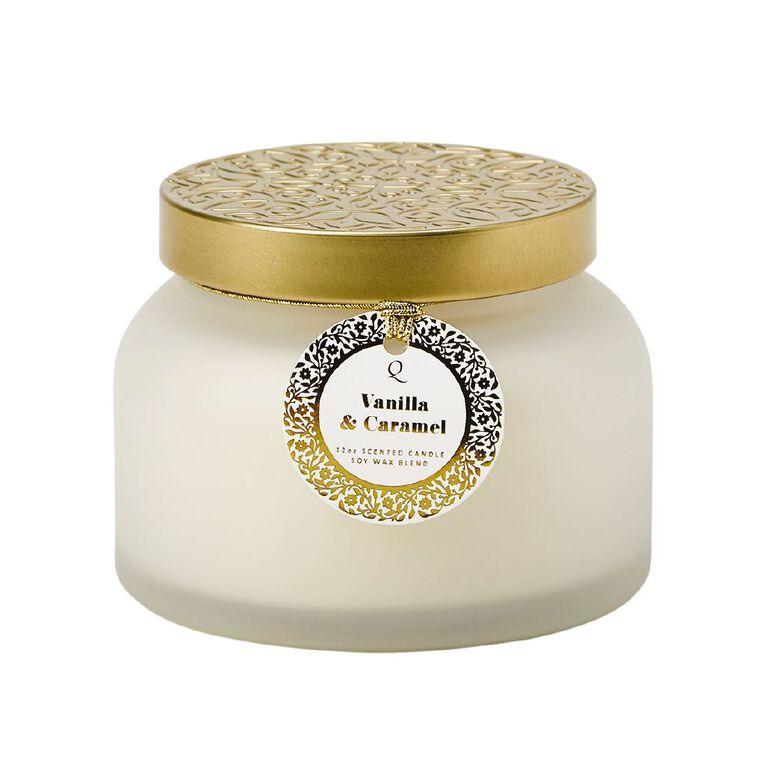 Living & Co Luxury Jar Candle Vanilla & Caramel White 12oz, White, hi-res