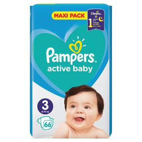 Pampers Nappies Active Baby Maxi Pack S3 (66)