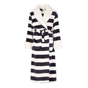 H&H Women's Stripe Coral Fleece Robe
