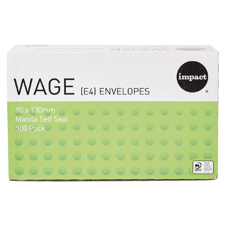 WS Envelope E4 Wage Self Seal 500 Pack Manilla, , hi-res