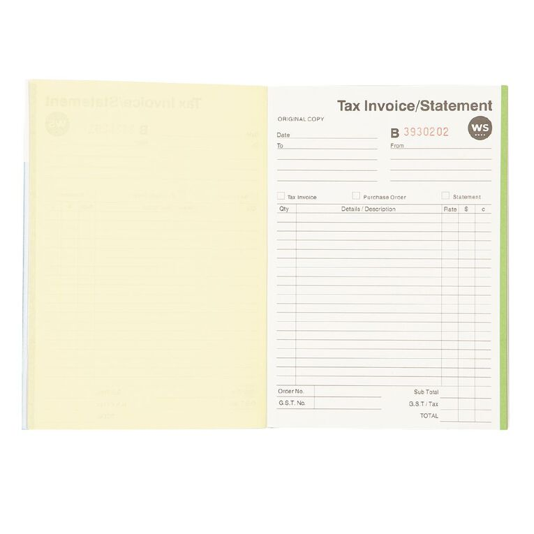 WS Invoice/Statement Book A5Dl Ncr 50 Forms Green, , hi-res