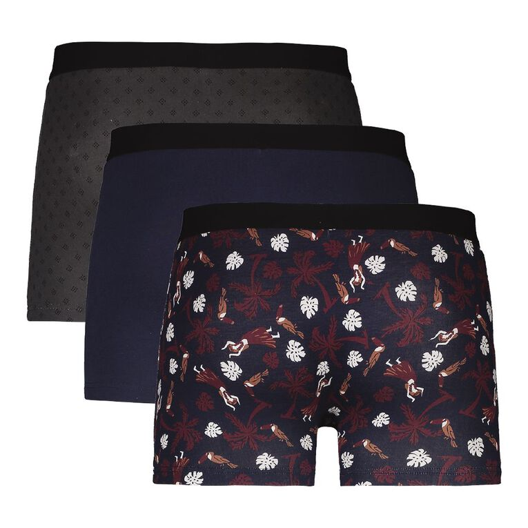 H&H Printed Fitted Trunks 3 Pack, Blue Mid, hi-res