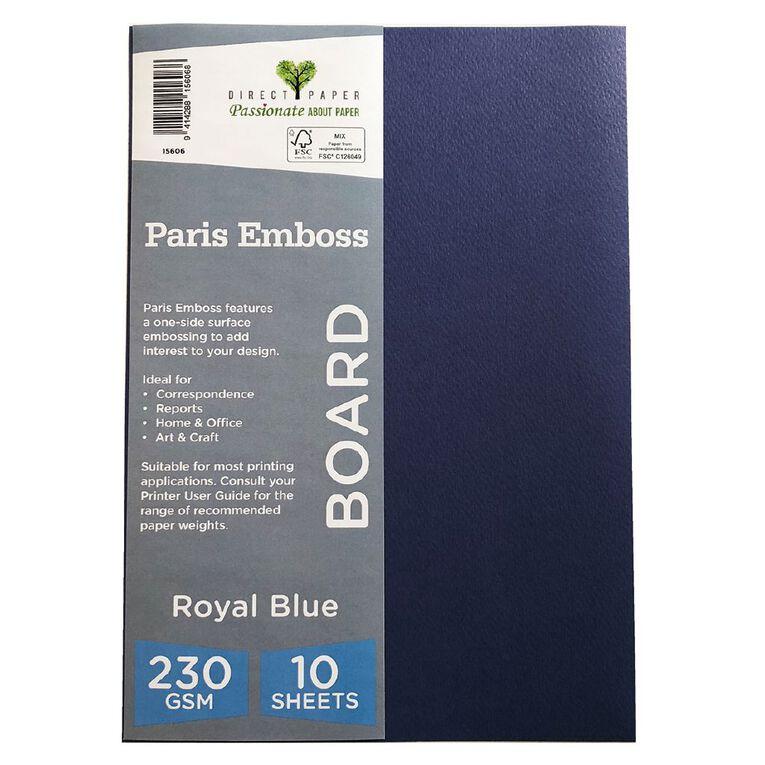 Direct Paper Paris Emboss 230gsm A4 10 Pack Royal Blue, , hi-res