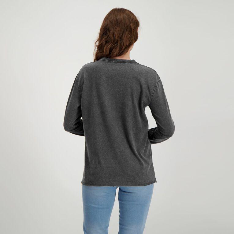 H&H Women's Long Sleeve Printed Tee, Black, hi-res