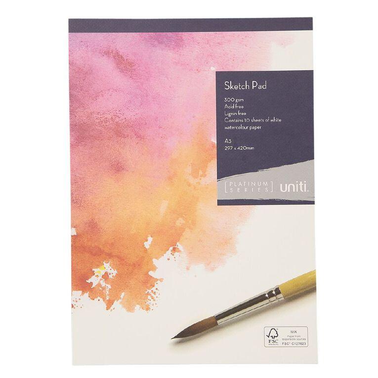 Uniti Platinum Sketch Pad 300gsm A3 10 Sheets, , hi-res