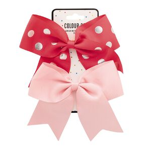 Colour Co. Large Bow Polka-Dots Hot Pink and Light Pink 2 Pack