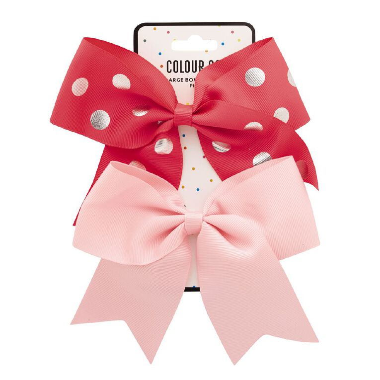Colour Co. Large Bow Polka-Dots Hot Pink and Light Pink 2 Pack, , hi-res