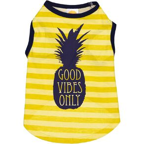 Simply Dog Yellow Good Vibes Only Pineapple Tee Small