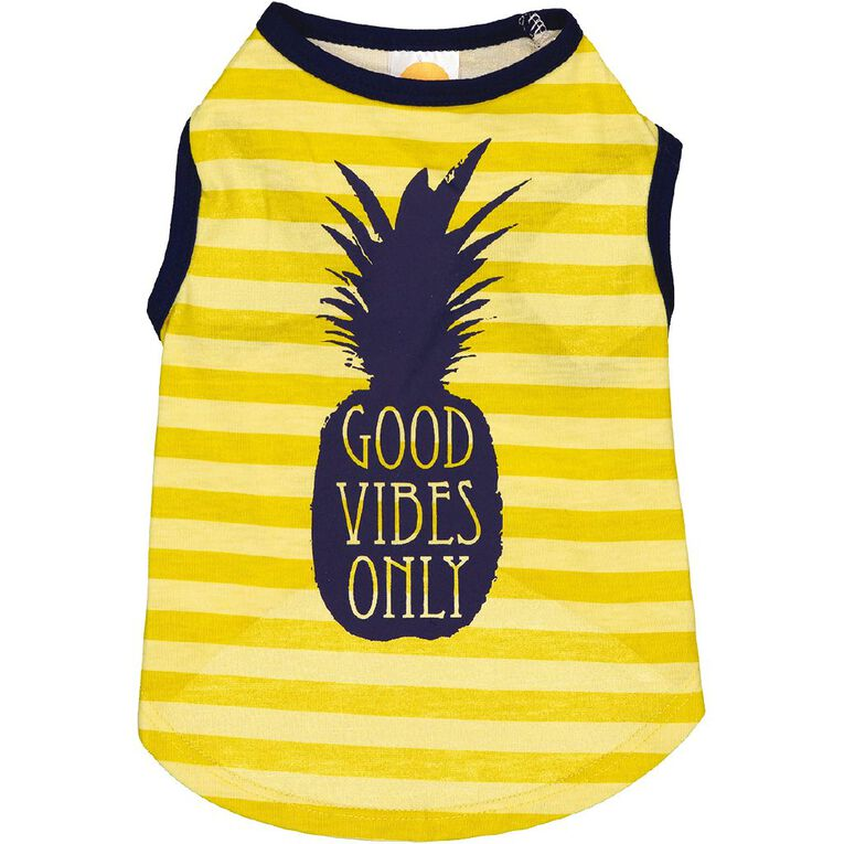 Simply Dog Yellow Good Vibes Only Pineapple Tee Small, , hi-res