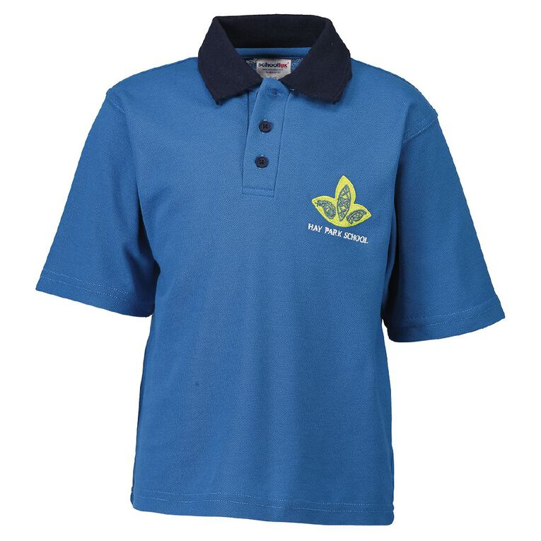 Schooltex Hay Park Short Sleeve Polo with Embroidery, Navy, hi-res