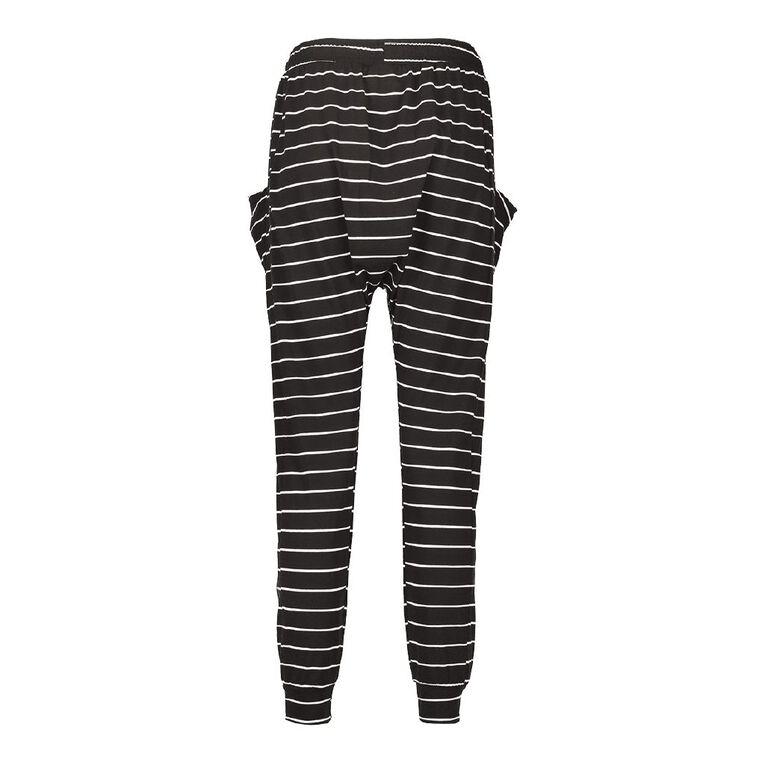 H&H Women's Stripe Harem Pants, Black/White, hi-res image number null