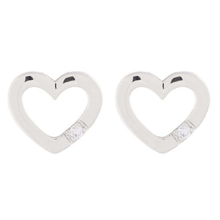 0.03 Carat Diamond Sterling Silver Heart Stud Earrings, , hi-res