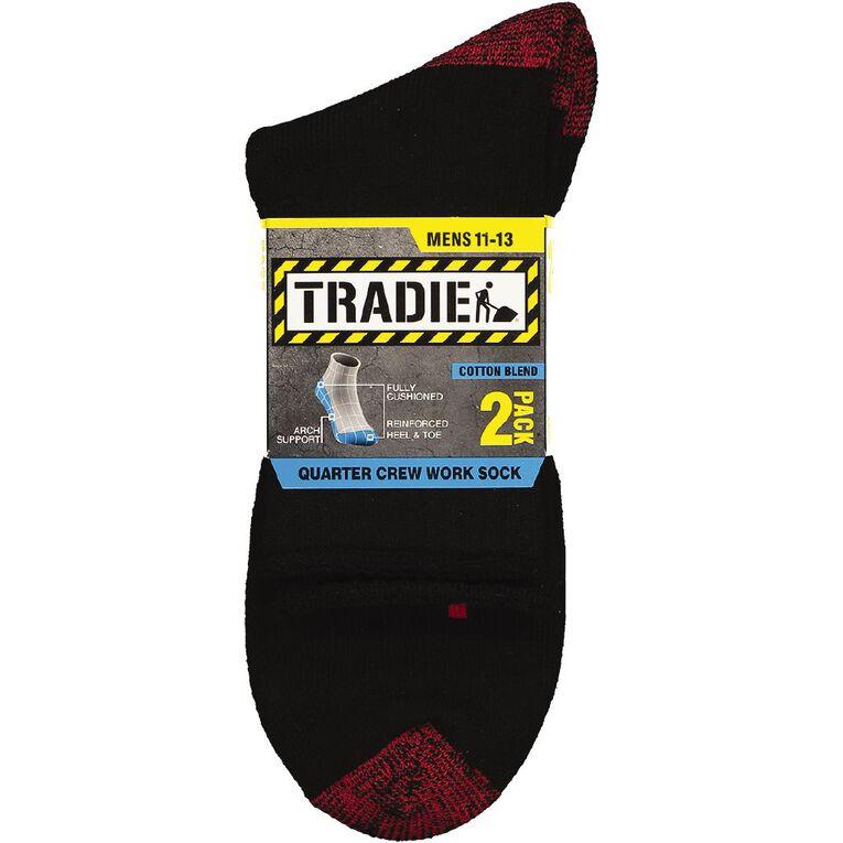 Tradie Men's Quarter Crew Work Socks 2 Pack, Black/Red, hi-res