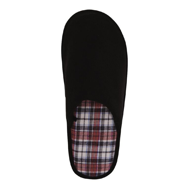 H&H Athens Scuff Slippers, Black, hi-res