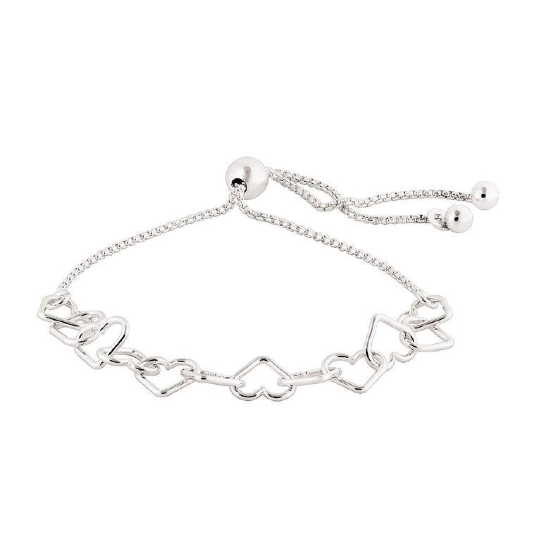 Sterling Silver Friendship Hearts Bracelet, , hi-res