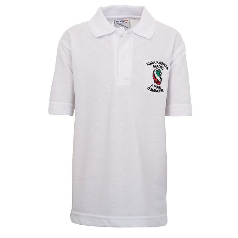 Schooltex TKKM O Mangere Short Sleeve Polo with Embroidery, White, hi-res