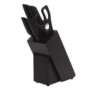 Living & Co Black Knife Block Set 6 Pack