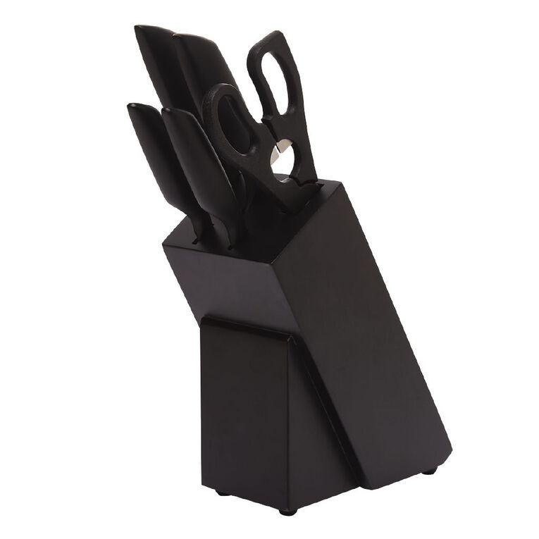 Living & Co Black Knife Block Set 6 Pack, , hi-res