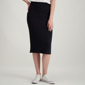 H&H Women's Brushed Rib Midi Skirt