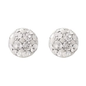 Sterling Silver White Crystal Half Ball Stud Earrings