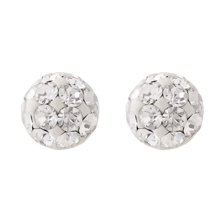 Sterling Silver White Crystal Half Ball Stud Earrings, , hi-res