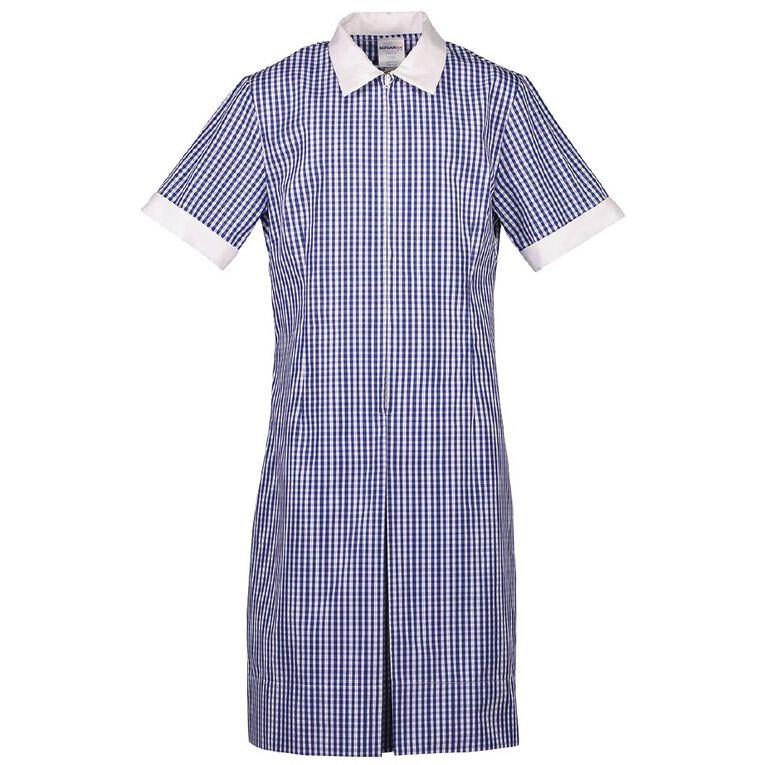 Schooltex Zip Gingham School Dress, Royal/White, hi-res