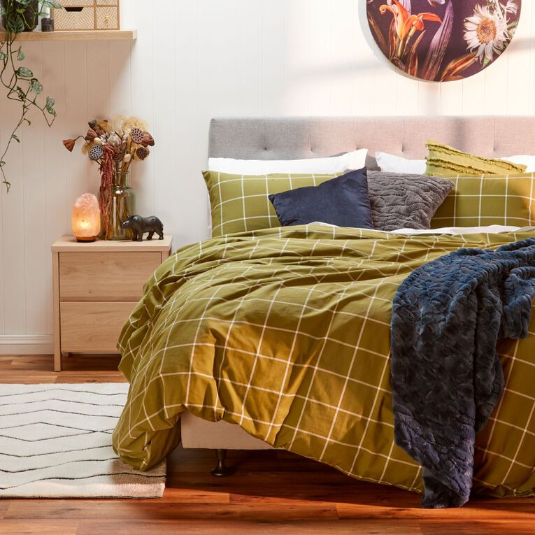 Living & Co Austin Queen Bedframe with Fabric Headboard, , hi-res