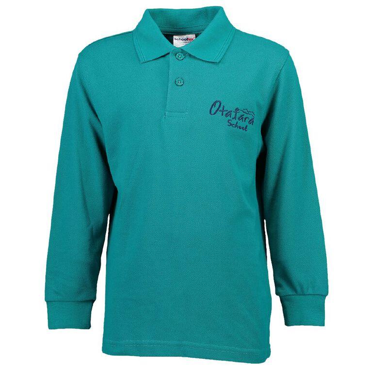 Schooltex Otatara School Long Sleeve Polo with Embroidery, Jade, hi-res