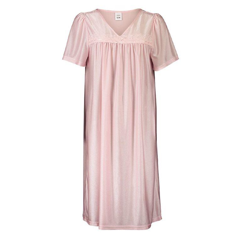 H&H Women's Tiricot Nightie, Pink, hi-res