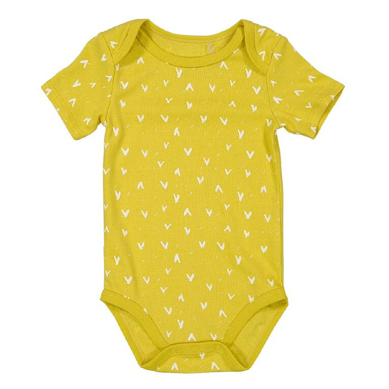 Young Original Baby All Over Print Short Sleeve Bodysuit, Yellow Mid, hi-res