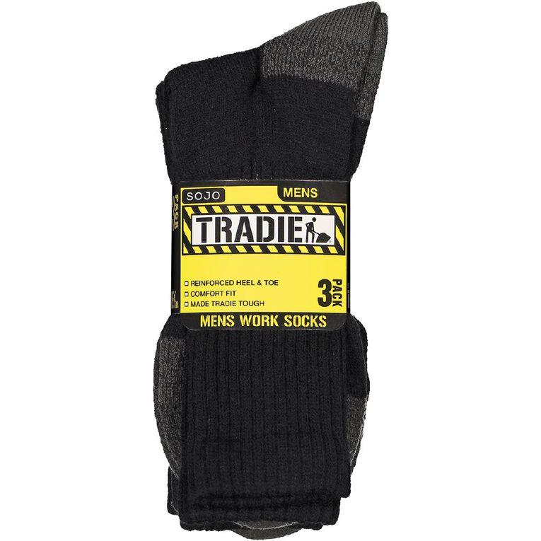 Tradie Men's Work Socks 3 Pack, Black/Grey, hi-res