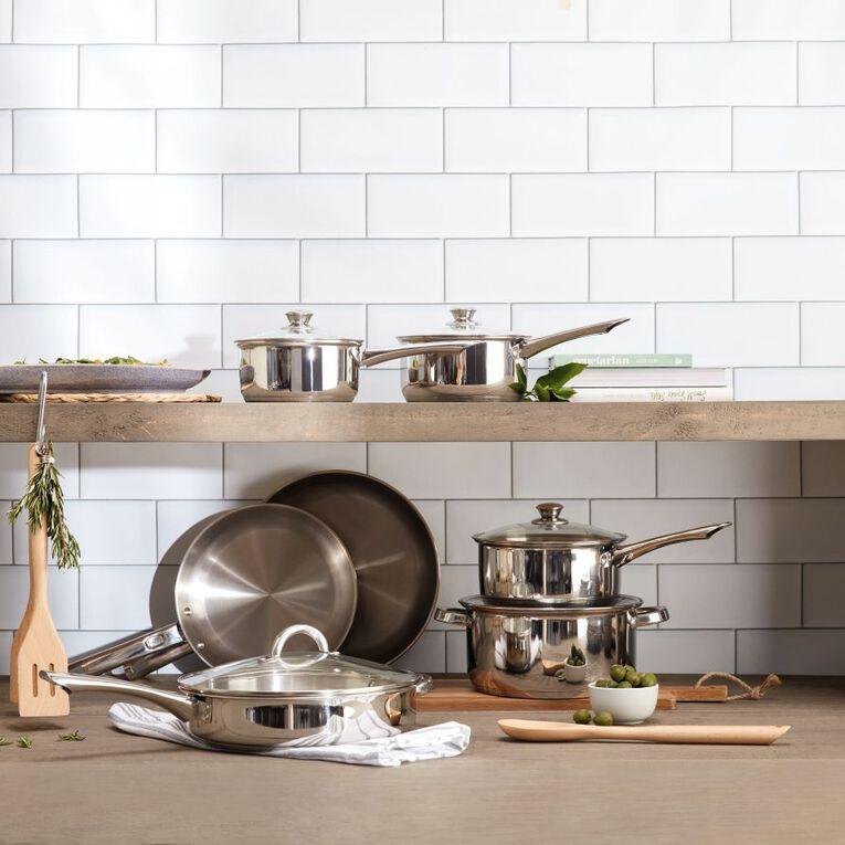 Living & Co Gourmet Stainless Steel Deep Dish Pan Silver 28cm, , hi-res