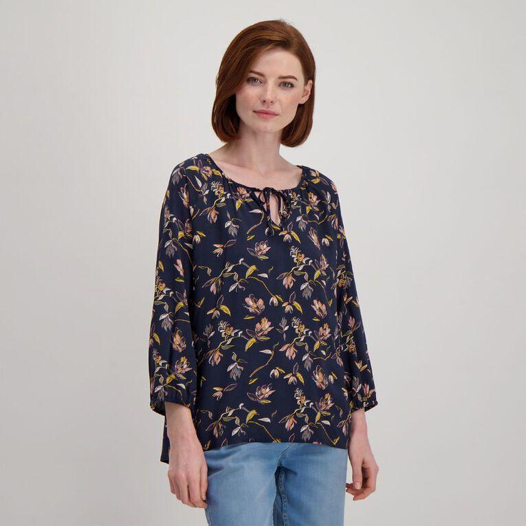 H&H Women's 3/4 Sleeve Print Blouse, Blue Dark, hi-res