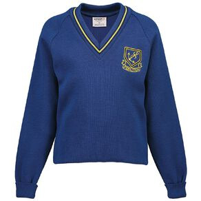 Schooltex Whangarei Girls' High Stripe V-Neck Jersey with Embroidery
