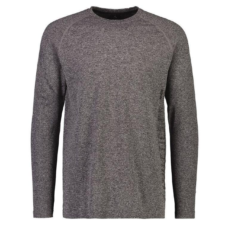 Active Intent Men's Long Sleeve Slogan Tee, Charcoal/Marle, hi-res