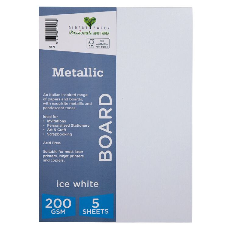 Direct Paper Metallic 200gsm 5 Pack Ice White A4, , hi-res