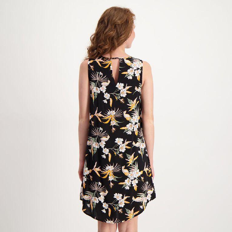 H&H Women's Sleeveless Printed Dress, Black, hi-res