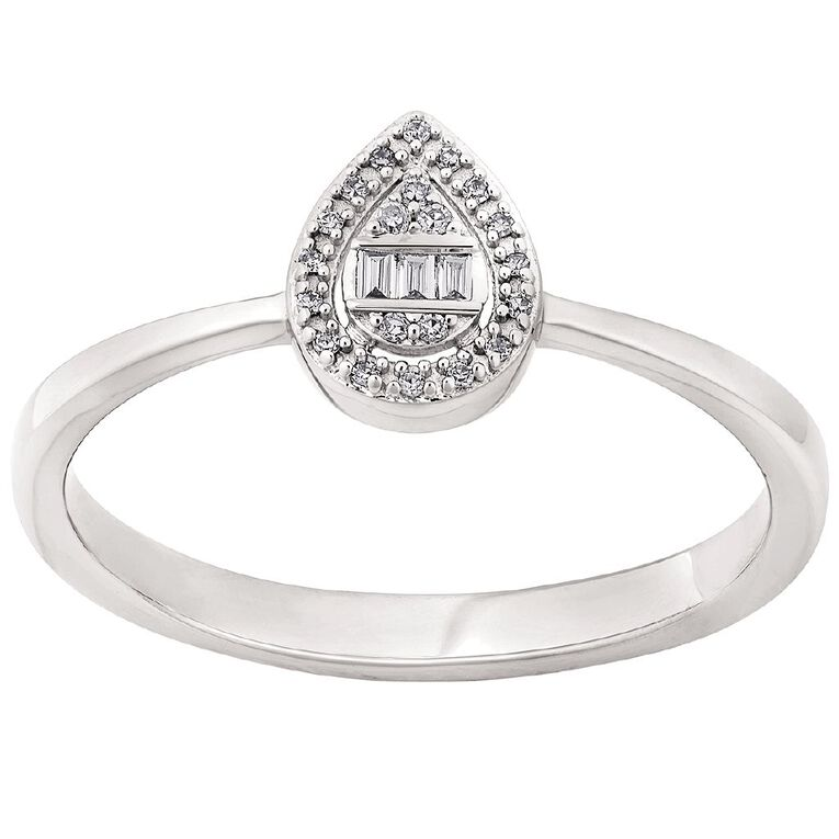 Sterling Silver 0.05ct Diamond Pear Cluster Ring, Silver, hi-res