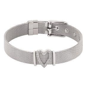 Stainless Steel Crystal Heart Mesh Charm Bracelet