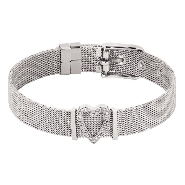 Stainless Steel Crystal Heart Mesh Charm Bracelet, , hi-res